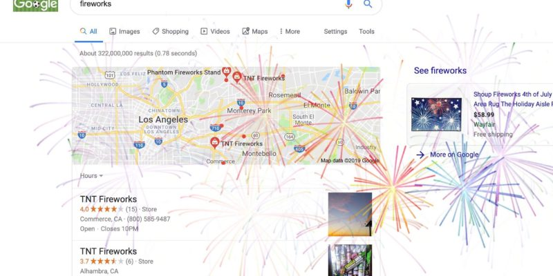 Google Easter eggs follow a bang on search keywords for Independence Day