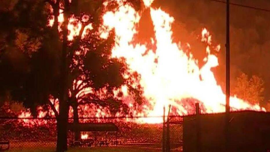 Fire catches at the Jim Beam Bourbon facility situated at Kentucky, US