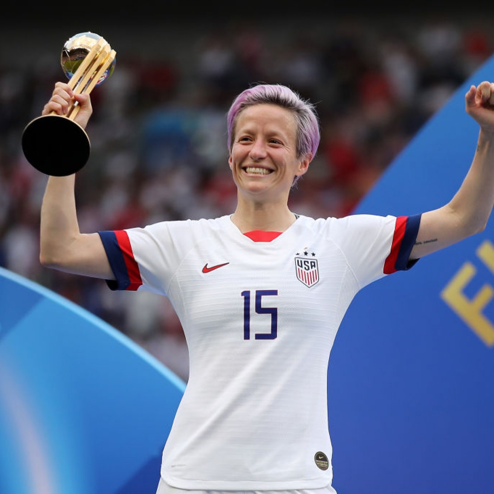 Megan Rapinoe, awomen soccer player at the time of celebrating the Fifa World cup victory 2019, threw an American Flag on to the ground.