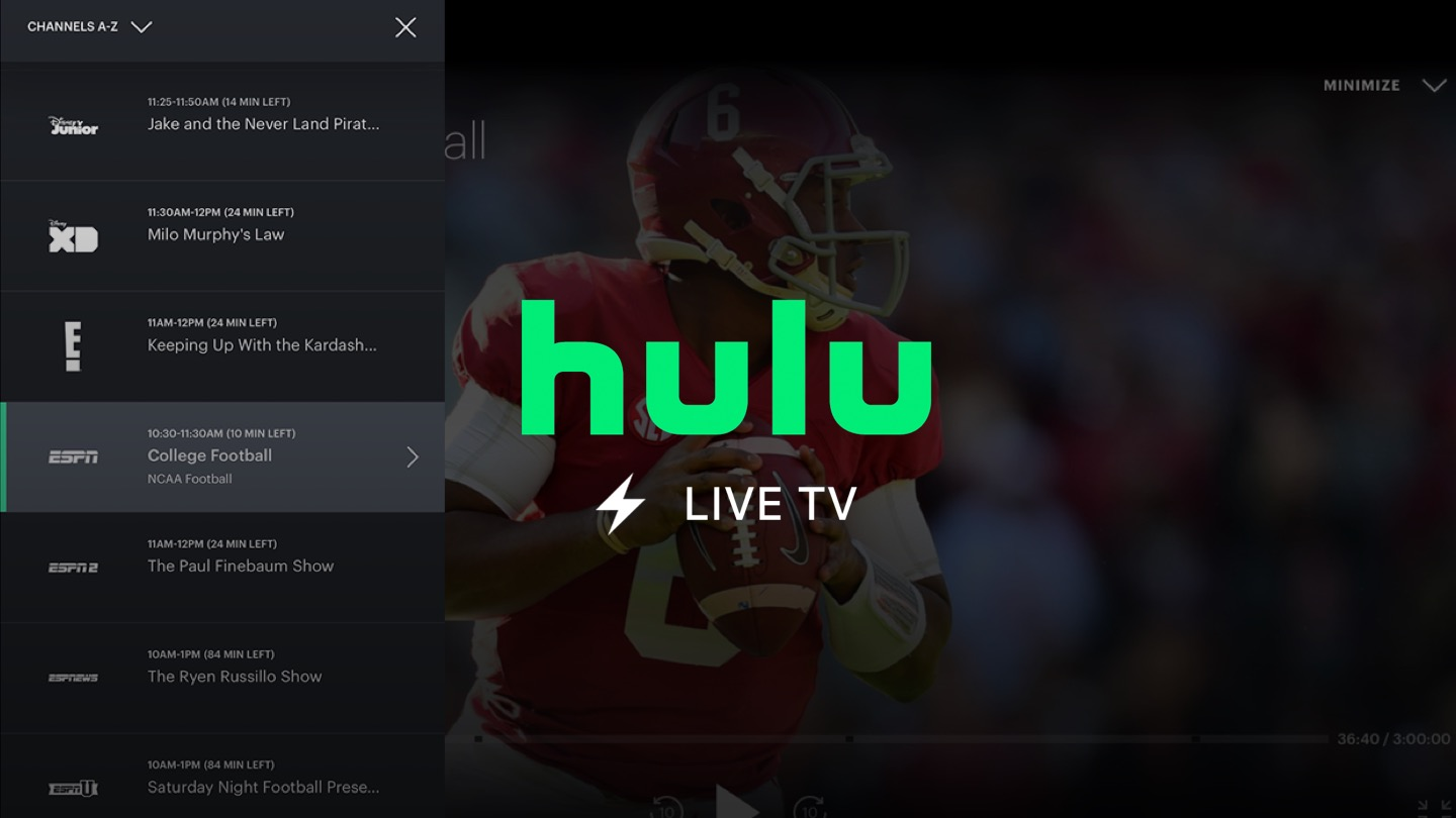 NFL Games Live Streaming Services Hulu+ Live TV