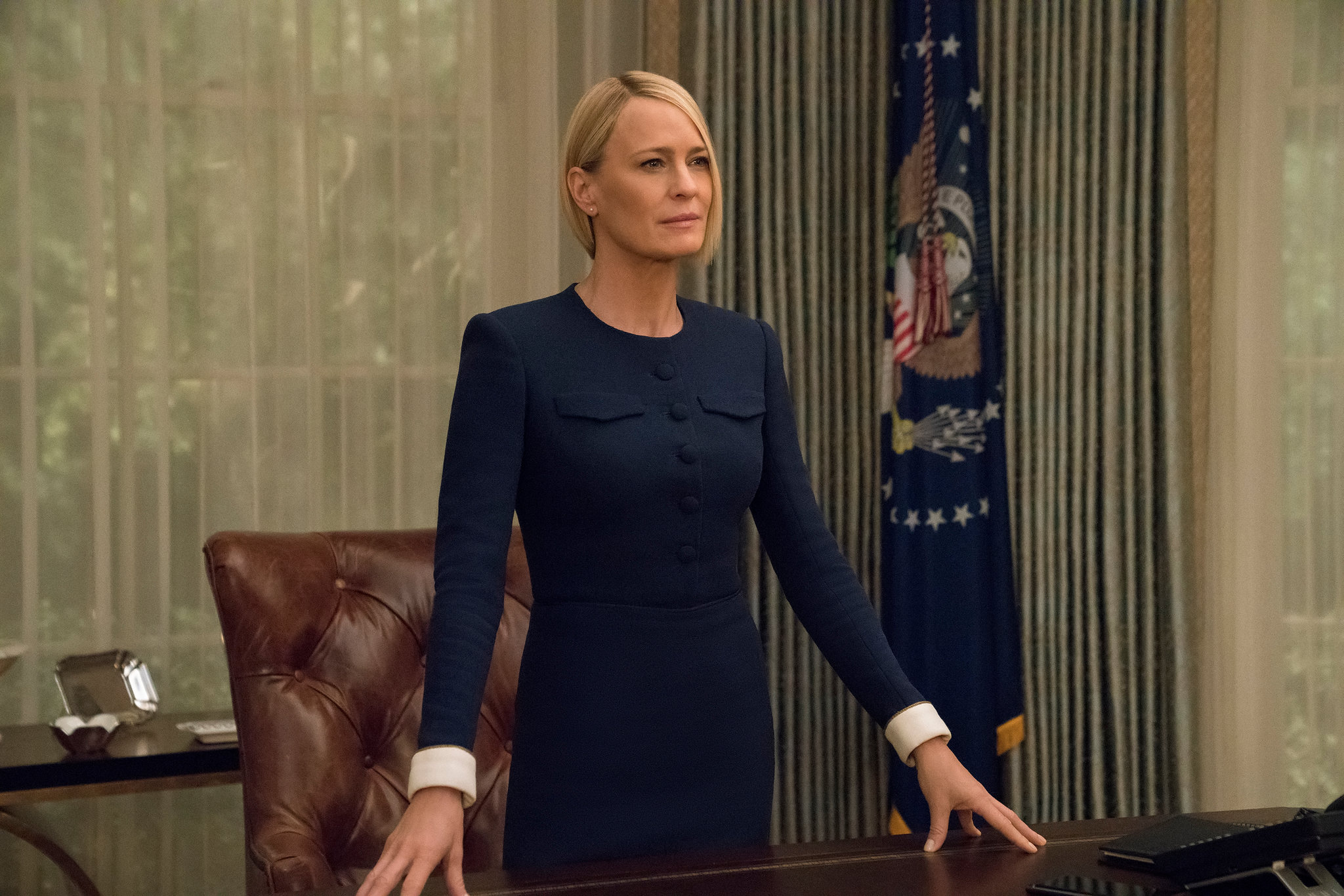 A still of Robin Wright from the show House of Cards.