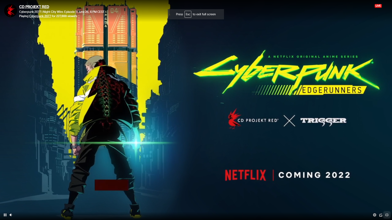Cyberpunk 2077 Anime Release Date and Trailer